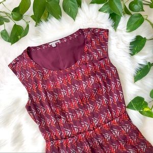 Halogen Pleated Chiffon Dress Geometric Print